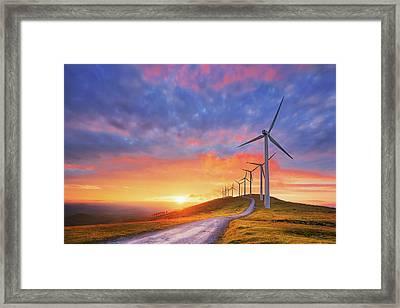 wind turbines in Oiz eolic park Framed Print