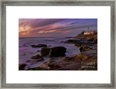 Windansea Beach At Dusk Framed Print by Eddie Yerkish
