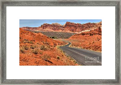 Meandering Through The Waterpocket Framed Print by Adam Jewell
