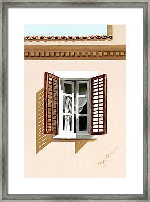 Window Above Athens - Prints From Original Oil Painting Framed Print by Mary Grden Fine Art Oil Painter Baywood Gallery