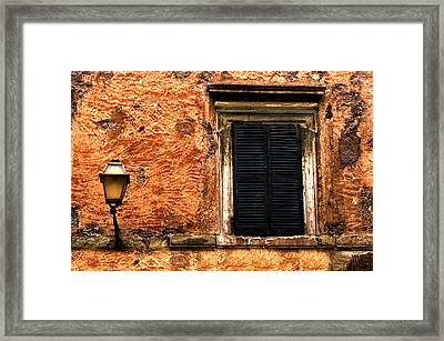 Window And Lamp Rome Italy Framed Print by Xavier Cardell