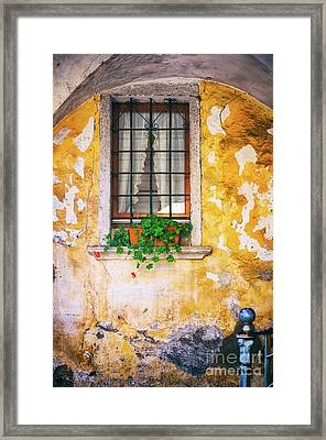 Window With Geraniums Framed Print by Silvia Ganora