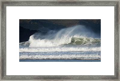 Framed Print featuring the photograph Windy Seas In Cornwall by Nicholas Burningham