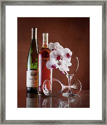 Wine And Orchids Still Life Framed Print