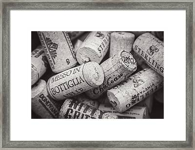 Wine Corks Black And White Framed Print by April Reppucci