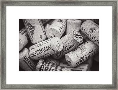 Wine Corks Black And White Framed Print