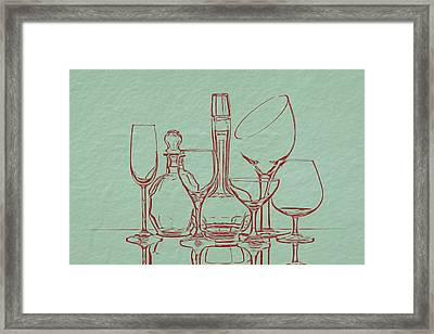 Wine Decanters With Glasses Framed Print by Tom Mc Nemar