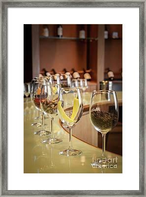 Wine Degustation Setting, Winery In Casablanca, Chile Framed Print by Anna Soelberg