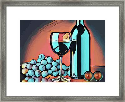 Wine Glass Bottle And Grapes Abstract Pop Art Framed Print