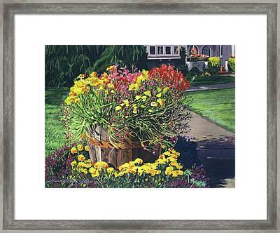 Winebarrel Garden Framed Print