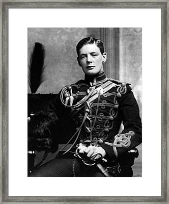 Framed Print featuring the photograph Winston Churchill  by Artistic Panda
