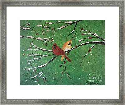 Framed Print featuring the painting Winter Cardinals by Denise Tomasura