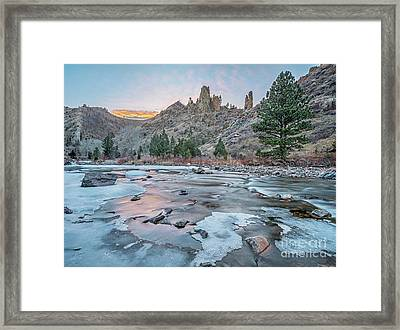 winter dusk over Poudre Canyon Framed Print