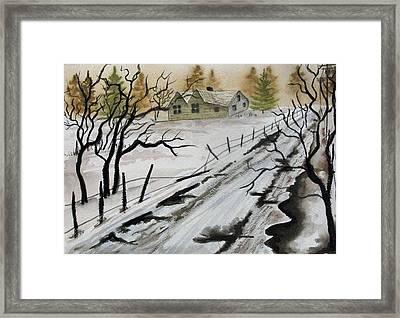 Winter Farmhouse Framed Print by Jimmy Smith