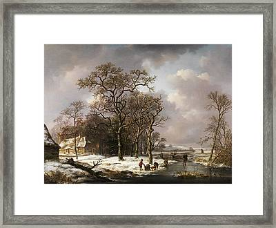 Winter Landscape Framed Print by Andreas Schelfhout