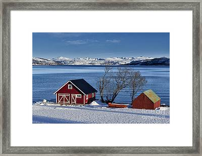 Winter Landscape With Typical Red House At Snow Covered Coast Framed Print by Juergen Ritterbach