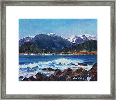 Framed Print featuring the painting Winter Mountains Alaska by Yulia Kazansky