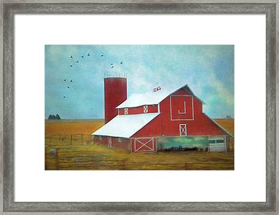 Winter Red Barn Framed Print