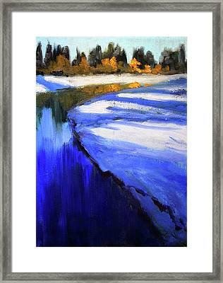 Framed Print featuring the painting Winter River by Nancy Merkle