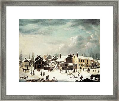 Winter Scene In Brooklyn Framed Print by Francis Guy