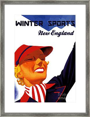Winter Sports New England Framed Print by Aapshop