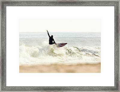 Winter Surfer On Sunny Day Framed Print by Erin Cadigan