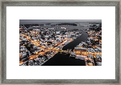 Winter Twilight In Mystic Connecticut Framed Print