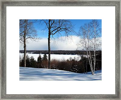 Framed Print featuring the photograph Winter View Of Sister Bay by David T Wilkinson