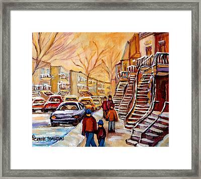 Winter Walk In Montreal Framed Print by Carole Spandau