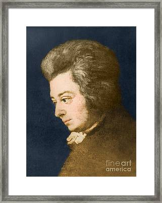 Wolfgang Amadeus Mozart, Austrian Framed Print by Omikron