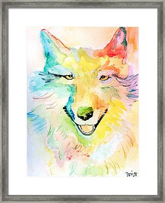 Framed Print featuring the painting Wolfie by Denise Tomasura