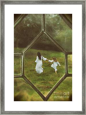 Woman And Child Through Window Framed Print