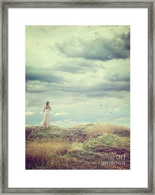 Woman And Tree Framed Print by Mythja Photography