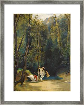 Woman Bathing In The Park Of Terni Framed Print by Carl Blechen