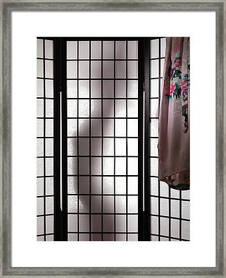 Woman Behind Shoji Screen Framed Print by Oleksiy Maksymenko