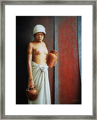 Woman Carrying Vases Framed Print by Horacio Cardozo