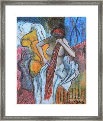 Woman Combing Her Hair After Degas Framed Print by Caroline Street