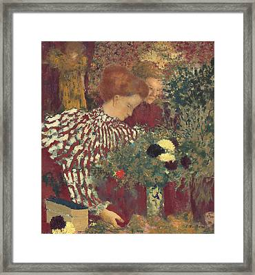 Woman In A Striped Dress Framed Print