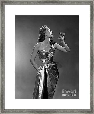 Woman In Metallic Dress, C.1950s Framed Print