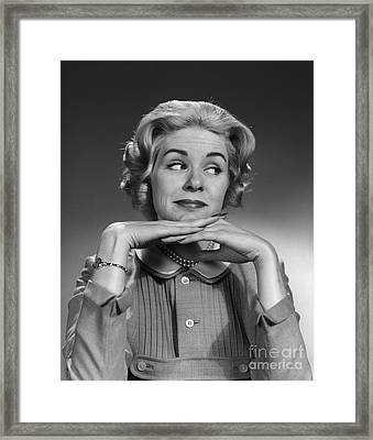 Woman Looking To The Side, C.1960s Framed Print by H. Armstrong Roberts/ClassicStock