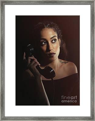Woman On Telephone Framed Print