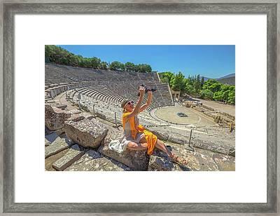 Woman Photographer Selfie Framed Print