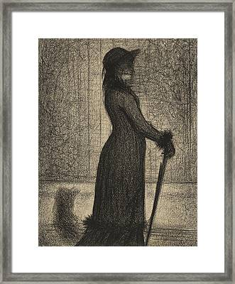 Woman Strolling Framed Print