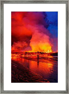 Woman Watching The Lava Flow Framed Print by Panoramic Images
