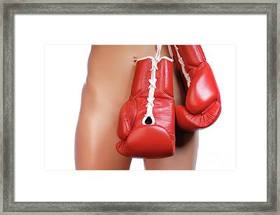 Woman With Boxing Gloves Framed Print