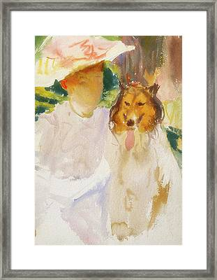 Woman With Collie Framed Print by John Singer Sargent