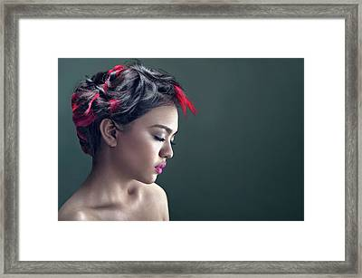 Woman With Highlighted Messy Updo With Long Side-swept Bangs Framed Print