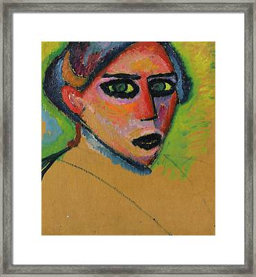 Woman's Face Framed Print