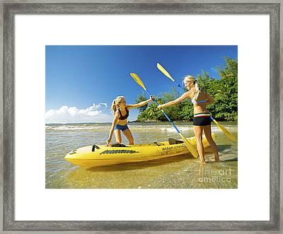 Women Kayakers Framed Print