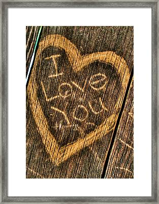 Wood Carving I Love You Framed Print by Connie Cooper-Edwards